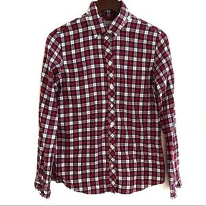 Banana Republic Soft Wash Shirt Red Sunset Plaid